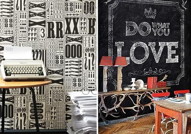 Черные обои для стен от Jocelyn Warner (слева) и от Wall & Deco