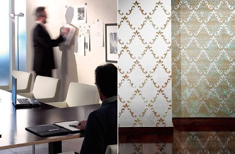 Магнитные (слева) и металлические обои от Architects Paper