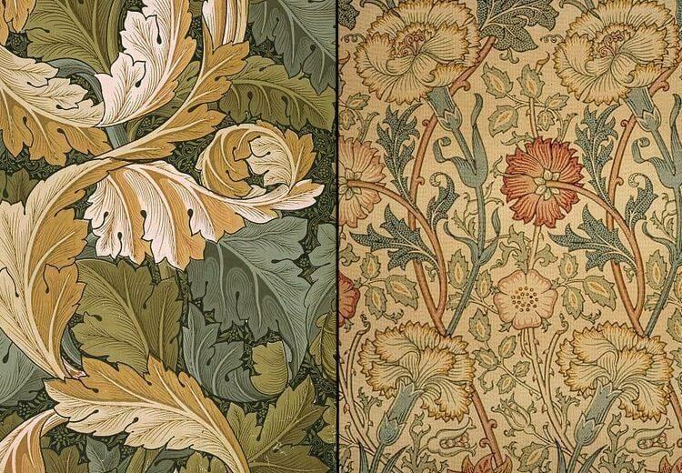 Обои, разрисованные с помощью блоков. William Morris, XIX век