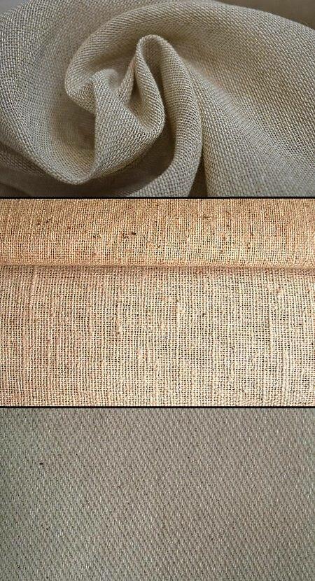 Сверху вниз: газовая ткань, osnaburg, прочная х/б ткань