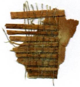 Фрагмент обоев Grasscloth, обнаруженных в t-Cairnwood-1895-in-Bryn-Athyn-Pennsylvania