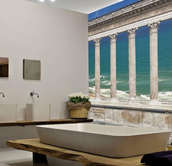 Ламинированные фотообои в ванной