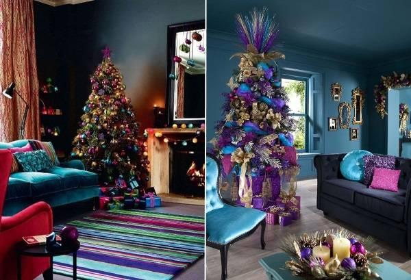 Красочное украшение дома на Новый год