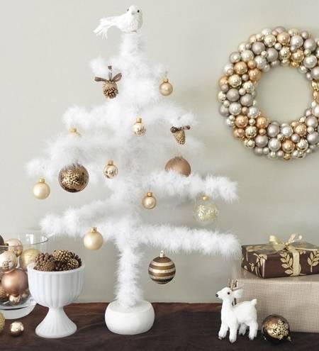 Гламурный новогодний декор из перьев
