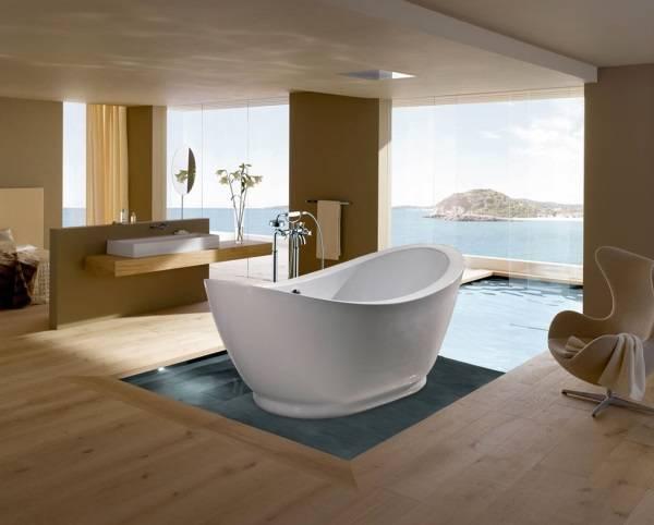 Дизайн ванной комнаты с обособленной ванной