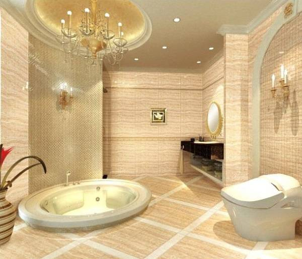 Дизайн ванной комнаты с глянцевой керамикой