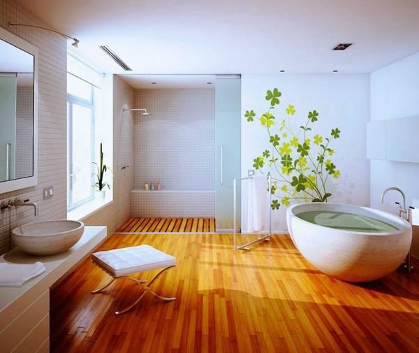 Дизайн ванной комнаты с деревянными полами