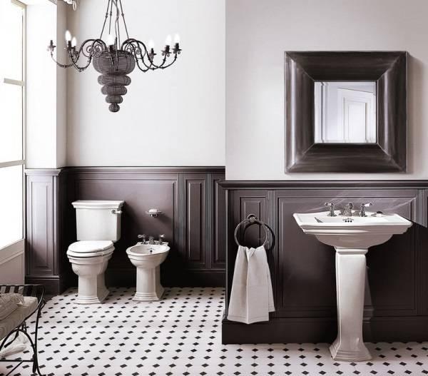 Дизайн ванной комнаты с деревянными панелями