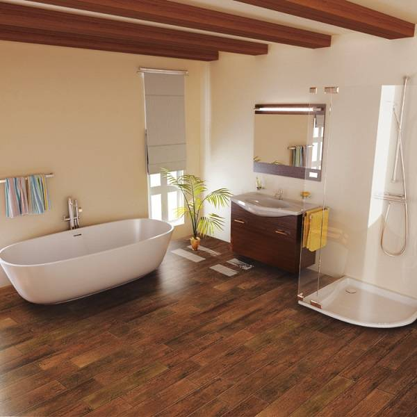 Дизайн ванной комнаты с плиткой в виде дерева