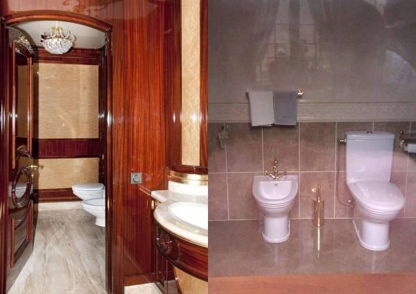 Межигорье. Туалет на дебаркадере (слева) и в доме