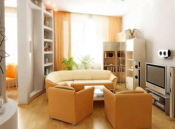 Оформление маленькой гостиной - малогабаритная мебель