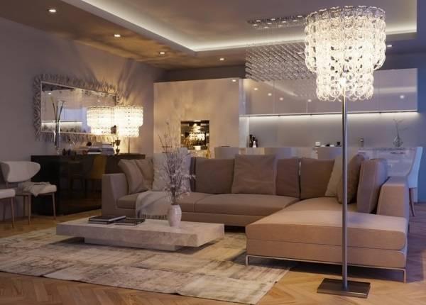 Освещение маленькой гостиной с зеркалами