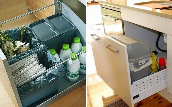 Как разместить мусорное ведро на кухне