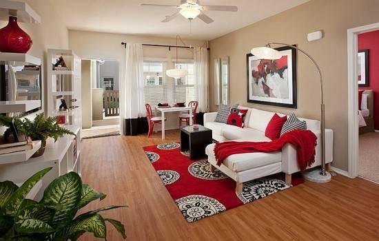 Современная гостиная в красном цвете