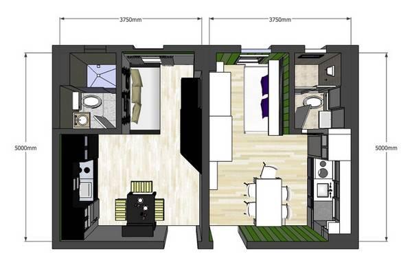 Планировка соседних однокомнатных квартир
