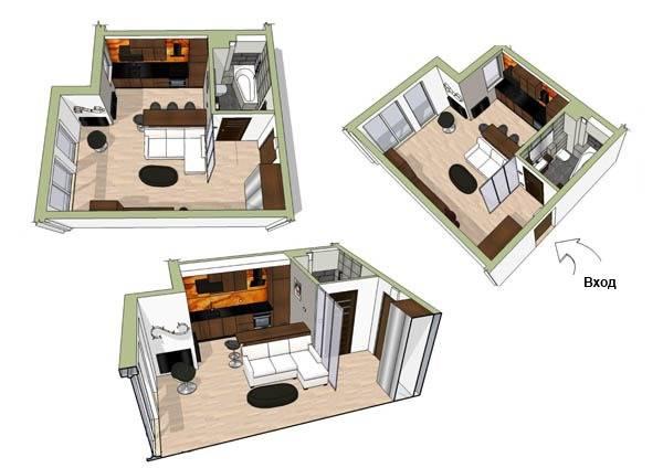 План маленькой квартиры 34 кв. м.