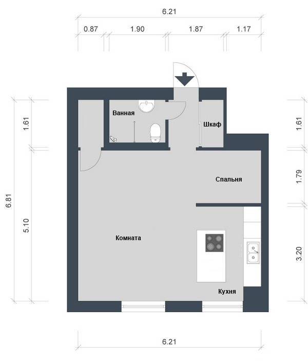 Планировка квартиры 42 кв. м.