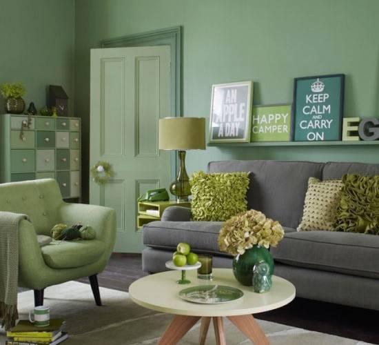 Элегантная гостиная в зеленом и сером цвете