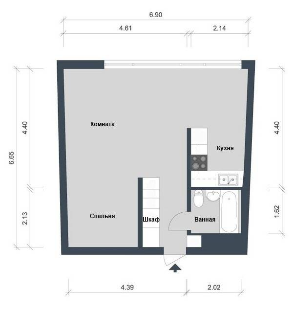 План квартиры 44 м