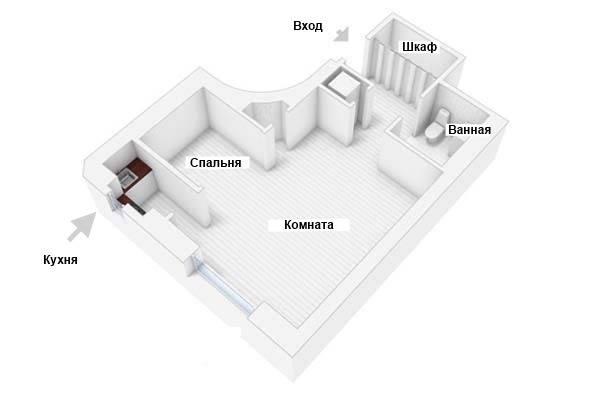 План квартиры с альковом