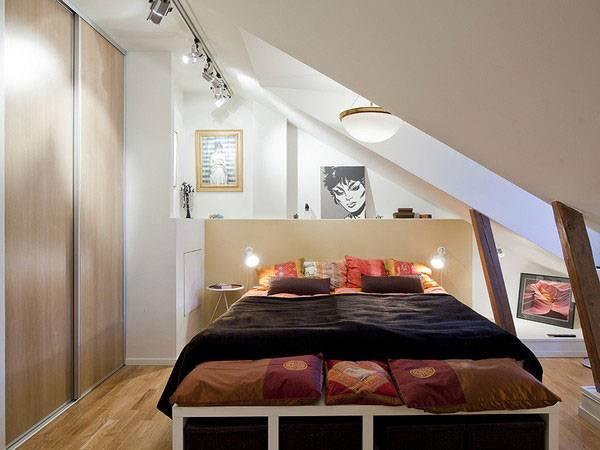Спальня в квартире-лофт