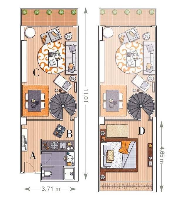 Планировка двухэтажной квартиры
