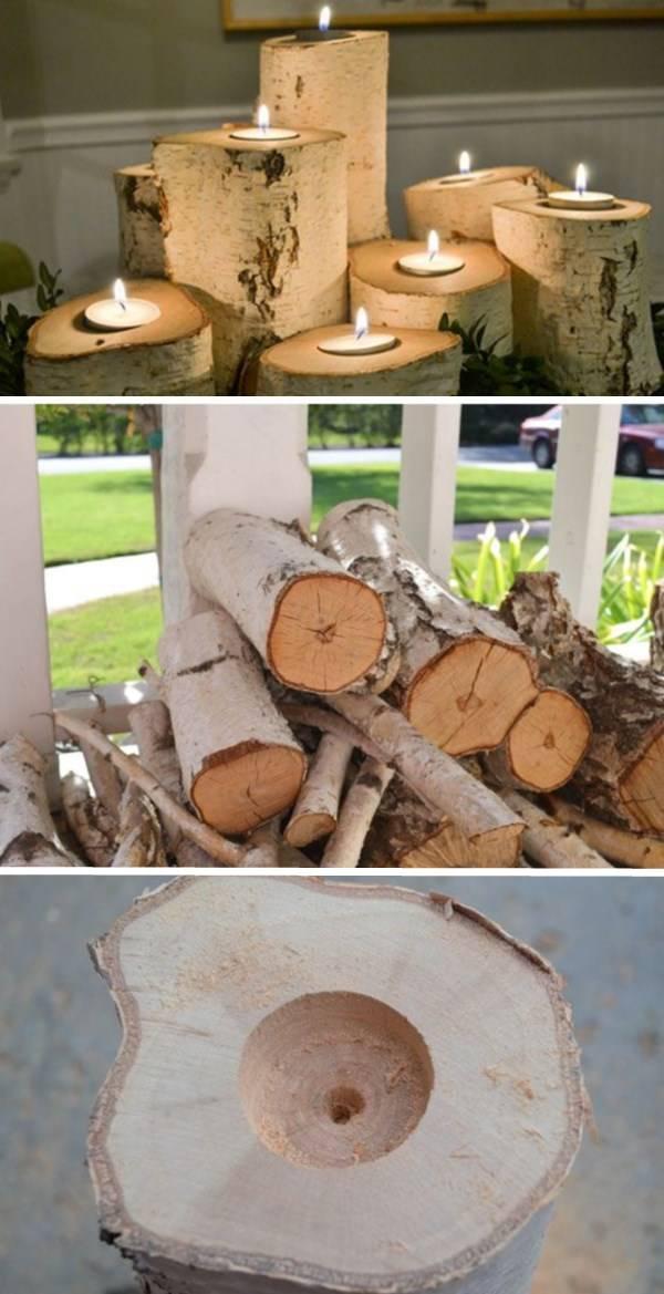 Подсвечники из деревянных брусьев