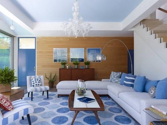 Модная гостиная в синем цвете