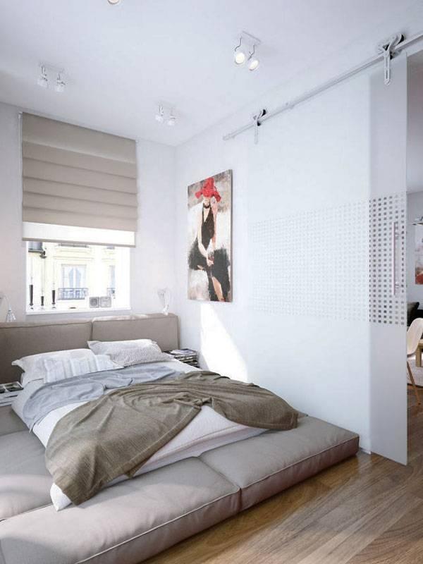 Необычная кровать в модной спальне