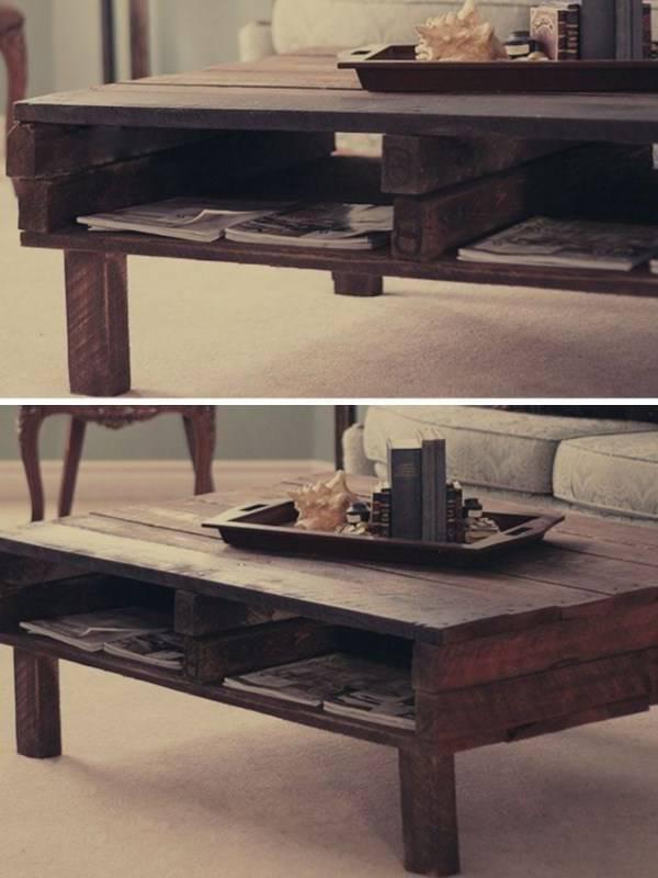 Журнальный столик из старого поддона