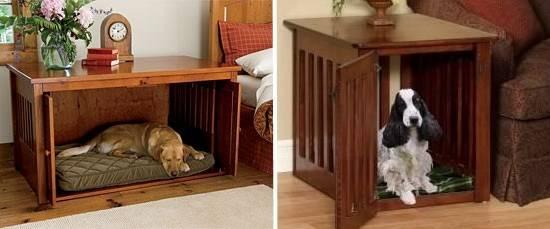 Деревянные тумбочки с лежанкой для собаки
