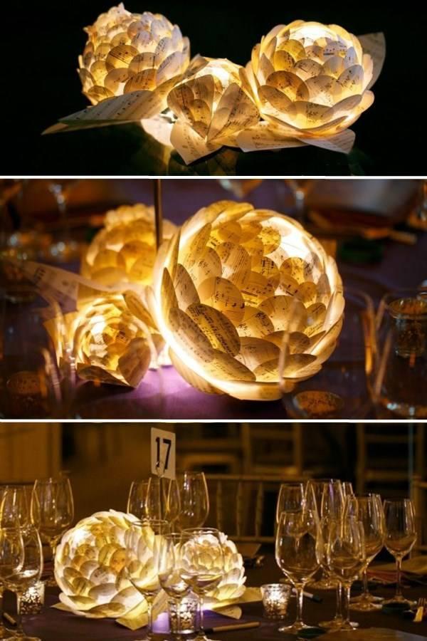 Настольный декор из бумаги и светодиодов