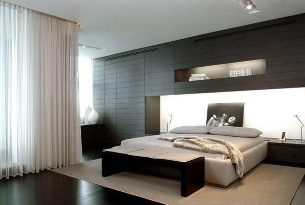 Дизайн спальни в современном стиле с черными элементами