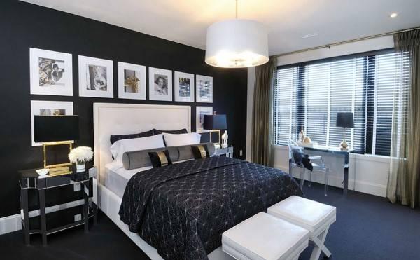 Гламурная спальня в черном цвете