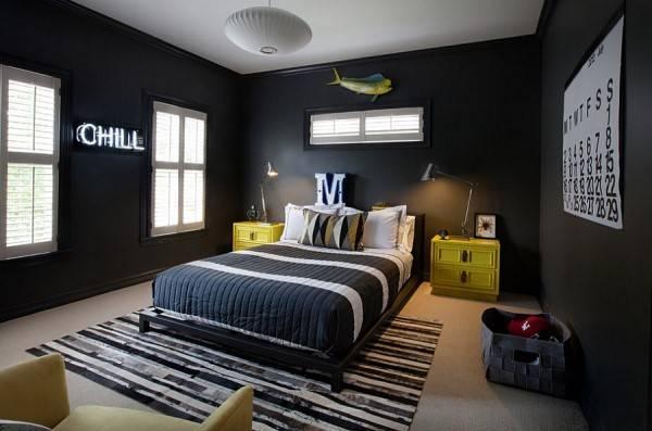 Черные обои для спальни в современном стиле