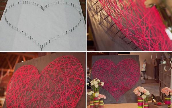 Декор сердце из ниток