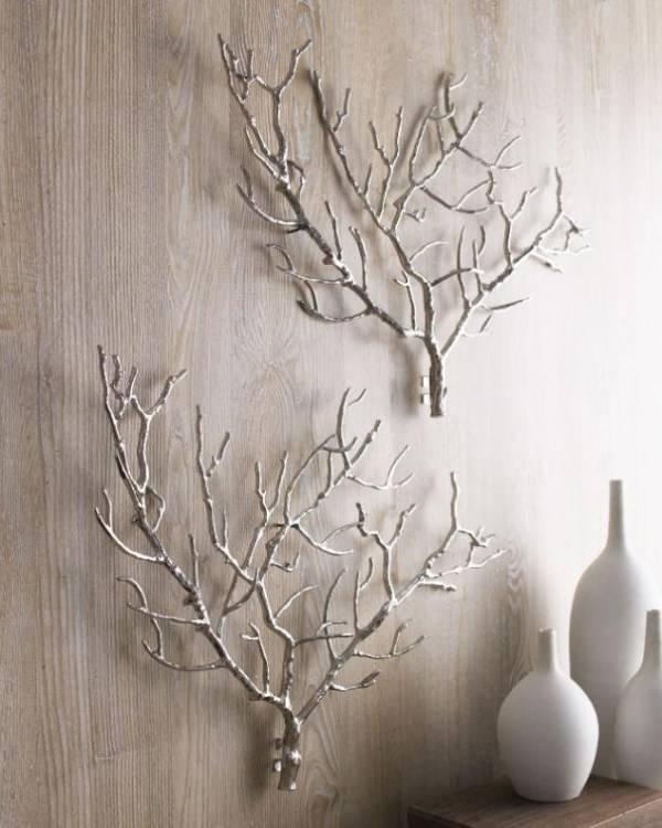 Украшение стен природными материалами