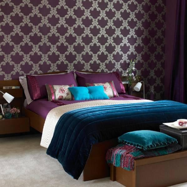 Дизайн спальни в роскошных цветах