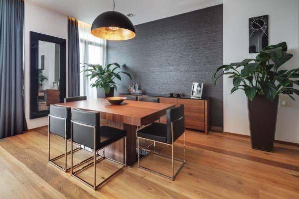 Стильный дизайн гостиной в темных тонах