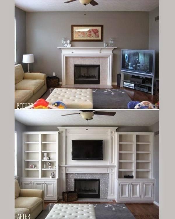 Дизайн гостиной до и после