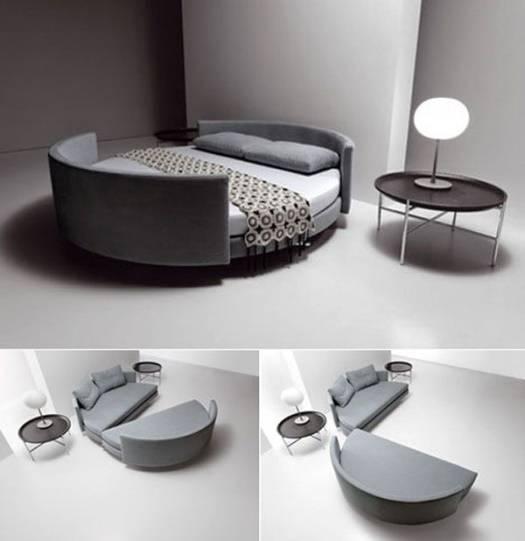 Круглая кровать, превращающаяся в диван
