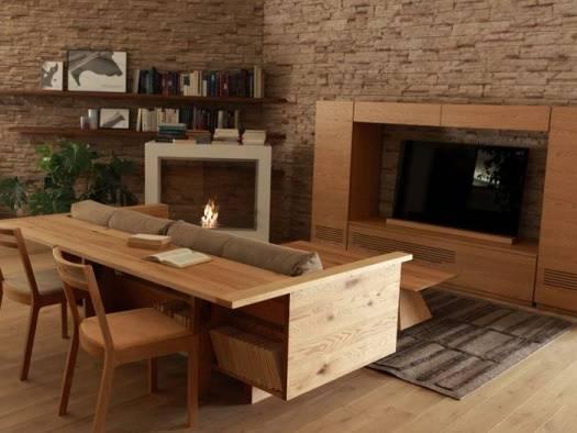 Стильный диван с деревянной барной полкой