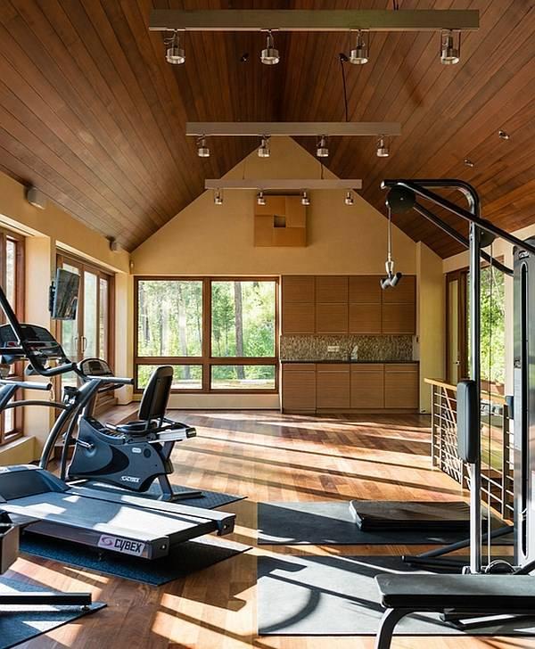 Комната с тренажерами в дизайне дома