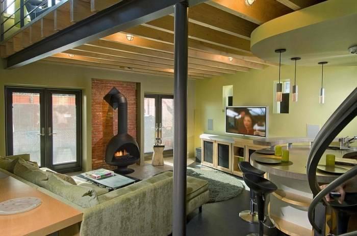 Дизайн гостиной в естественном зеленом цвете