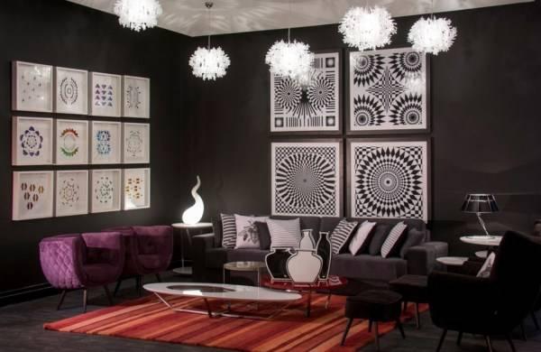 Стильный и яркий дизайн гостиной
