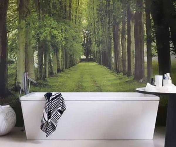 Дизайн ванной комнаты с фотообоями