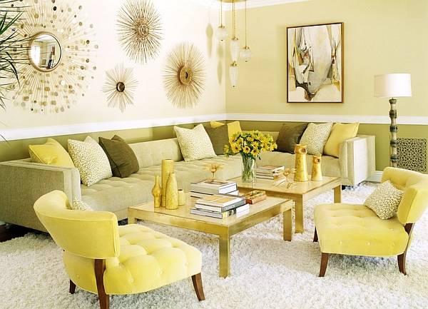Стиль ретро в гостиной в желтом и зеленом цвете