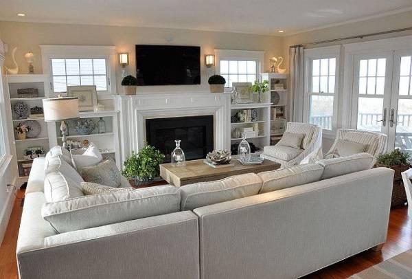 Белая мебель для гостиной в стиле прованс