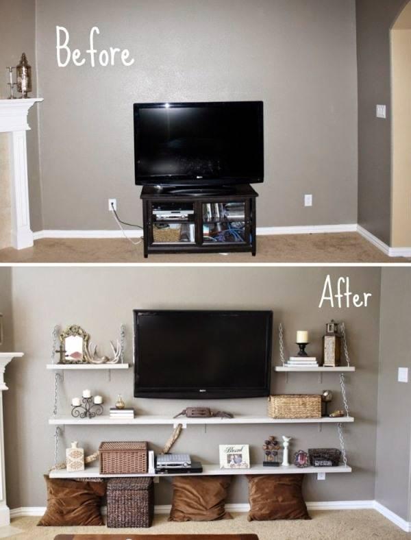 Дизайн маленькой гостиной до и после