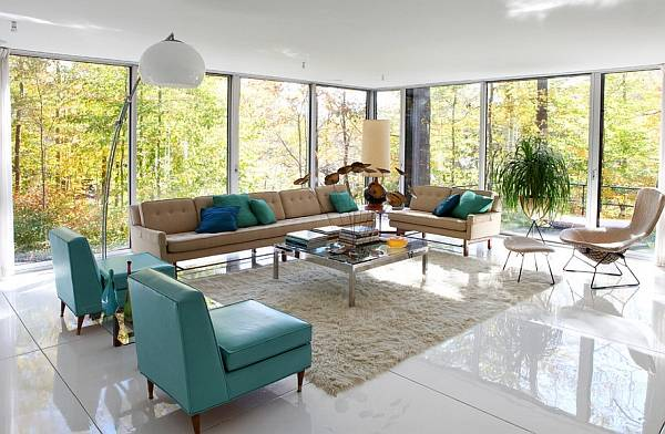 Гостиная в стилях ретро и минимализм